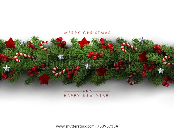 Holiday's Background with Season Wishes and Border of Realistic Looking Christmas Tree Branches Decorated with Berries, Stars and Candy Canes.
