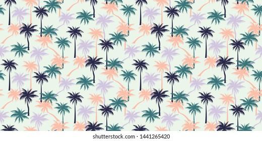 Papel pintado de las palmeras tropicales en tonos rosas, verdes y violetas sobre un fondo blanco claro - Vector