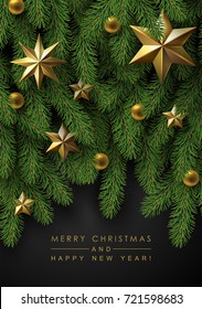 Holidays Greeting Card with Christmas Tree Branches  Decorated with Gold Bubbles and Stars.