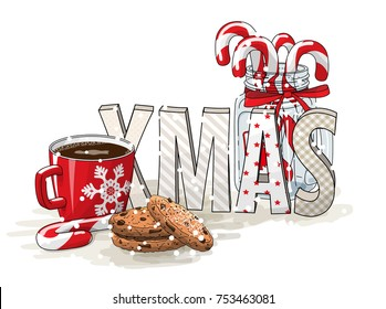 Holidays motive, letters XMAS, glass jar with candy canes, red cup of coffee and chocolate cookies on white background, vector illustration, eps 10 with transparency