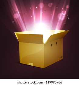 Holidays Shining Magic Present/ Illustration of a cartoon cardboard package, for christmas or birthday holidays, with shiny bright magic light rays rising from the box, stars and light blurs effect