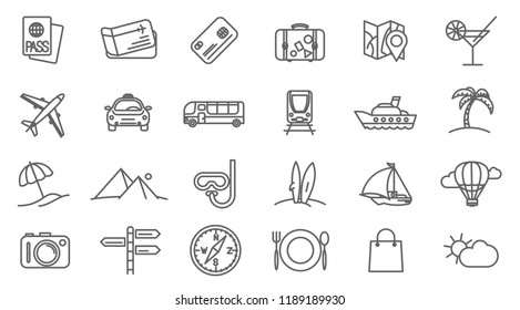 Holidays and travel thin line vector icon set.