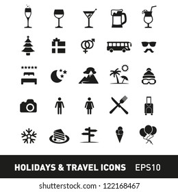Holidays and Traveling Icon Set