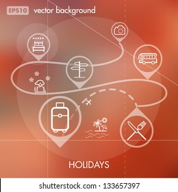 Holidays and Travels Creative Icon Background Concept