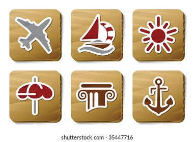 Holidays and Treval icons. Vector icon set. Three color icons on cardboard tags.