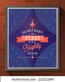 Holidays type design with christmas star and sunburst rays - Poster in wooden frame on a brick wall. Vector illustration