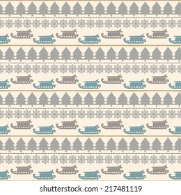 Holidays vintage Christmas seamless boarders. Abstract silhouette new year ornament. Repeating pattern background. Winter texture. Fabric design. Wallpaper