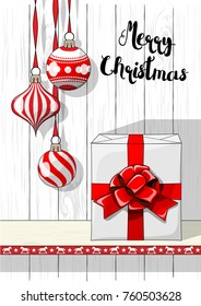 Holidays vintage motive, Christmas decorations and big white gift box with red ribbon on white background with white wood texture, vector illustration, eps 10 with transparency