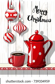 Holidays vintage motive, Christmas hanging decorations with red dotted coffee pot and cup on white background with white wood texture, vector illustration, eps 10 with transparency