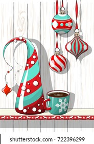 Holidays vintage motive, Christmas red and blue decorations with abstract cone tree and cup of coffee on white background with wood texture, vector illustration, eps 10 with transparency