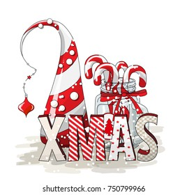 Holidays vintage motive, letters XMAS with abstract christmas tree and glass jar with candy canes on white background, vector illustration, eps 10 with transparency