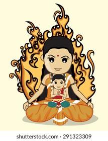 Holika with Bhakt Prahlad - Hindu Mythological Character