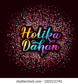 Holika Dahan  calligraphy 3d lettering  with colorful confetti. Indian Traditional Holi festival of colors. Hindu celebration poster. Vector template for party invitations, banners, flyers, etc.