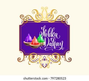 Holika Dahan - celebration poster to indian holiday design on golden frame, calligraphy vector illustration