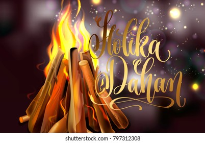 Holika Dahan greeting card design with a realistic fire in the night lights, vector illustration