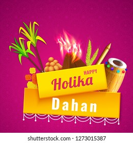 Holika dahan template or poster design with festival elements illustration on fuchsia background.