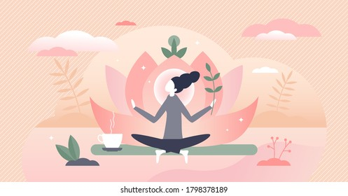 Holistic healing self treatment with peaceful mediation tiny person concept. Spiritual therapy for body and mind with harmony yoga vector illustration. Alternative medicine for wellness and health.