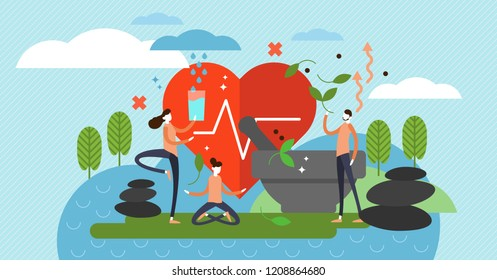 Holistic healing vector illustration. Alternative medicine and state of mind for spiritual therapy. Illness and disorder treatment with nature, religion and spirit power.