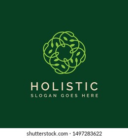 Holistic medical and health wellness logo design with light green leaf line linear pattern