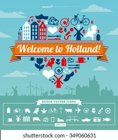 Holland Dutch vector set