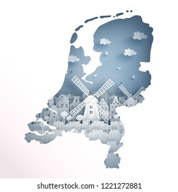 Holland map concept with Dutch windmill for travel postcard and poster, brochure, advertising in paper cut style vector illustration.