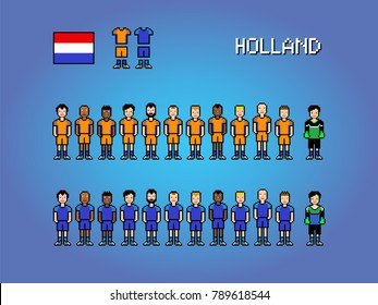 Holland national football team, pixel art video game illustration
