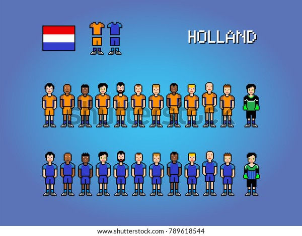 Holland National Football Team Pixel Art Stock Vector