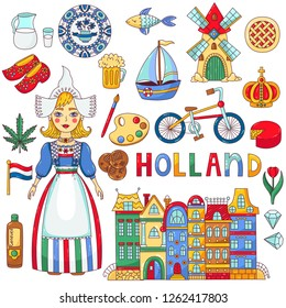Holland Netherlands doodle cartoon colorful traditional national symbols vector icons set
