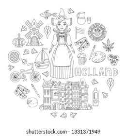 Holland Netherlands doodle line icons traditional symbols set in circle design