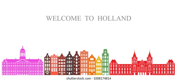 Holland set. Isolated Holland architecture on white background