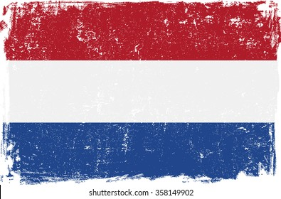 Holland vector grunge flag isolated on white background.