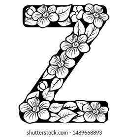 Hollow flowers English letters, wedding fonts.English alphabet. Black lettering.Letter. Vector handwritten brush script. ABC Painted Letters. Painted Alphabet. Education. Letter Z