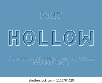 Hollow font. Vector alphabet letters and numbers. Typeface design.