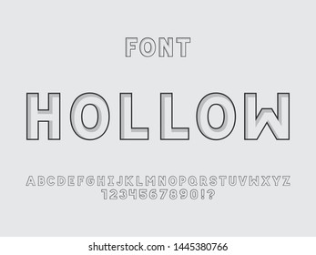 Hollow font. Vector alphabet letters and numbers. Typeface design. Typography Graphic