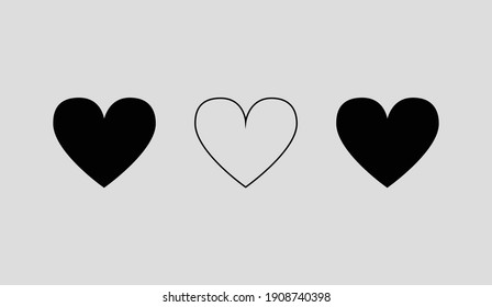 hollow and full set of triple hearts