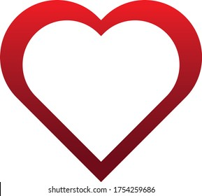 Hollow heart in red vector