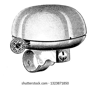It is a hollow metal object, typically in the shape of a deep inverted cup widening at the lip, it produces sound when struck. Bicycle Accessories 1900.