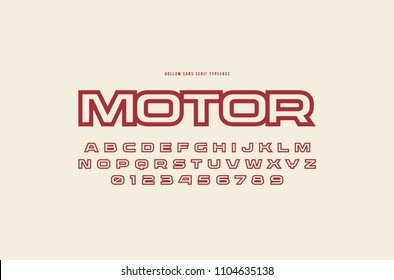 Hollow sans serif font in racing style. Letters and numbers for logo and title design