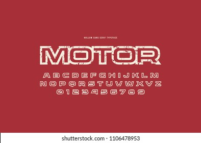 Hollow sans serif font in racing style. Letters and numbers with rough texture for logo and title design