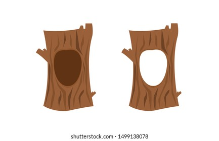Hollow tree set. Hole in the tree. Illustration of a big trunk of a tree with a hole. Flat cartoon style vector illustration. White isolated