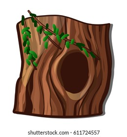 A hollowed out old tree isolated on white background. Vector cartoon close-up illustration.