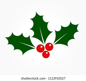 Holly berries icon. Ilex plant leaves symbol of Christmas