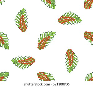 Holly berry. Christmas seamless pattern with poinsettia.