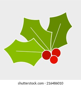 Holly berry, Christmas symbol. Vector illustration