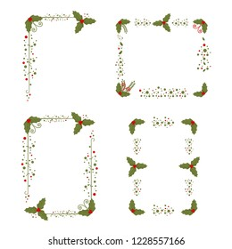 Holly berry frame. Christmas border set. Holiday decorated element isolated on a white background.