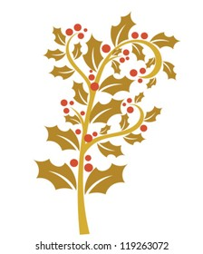 Holly berry - gold branch with red fruits. Christmas symbol