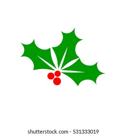 Holly berry icon, Christmas mistletoe, flat design template, vector