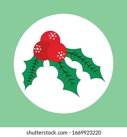 Holly berry icon. Christmas symbol vector illustration
