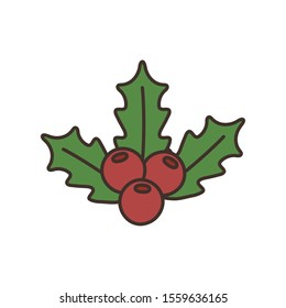 holly berry leaves chirstmas decoration icon vector illustration