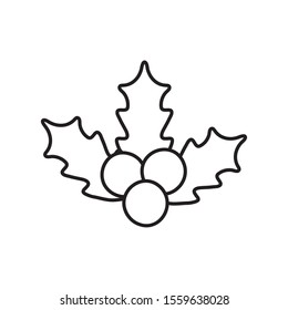 holly berry leaves chirstmas decoration icon vector illustration thick line